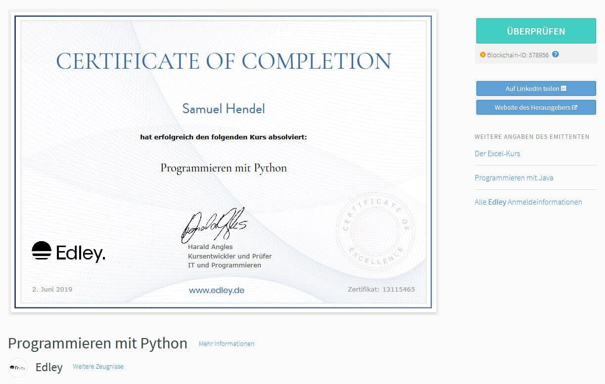 Zertifikat Edley Python Programmieren
