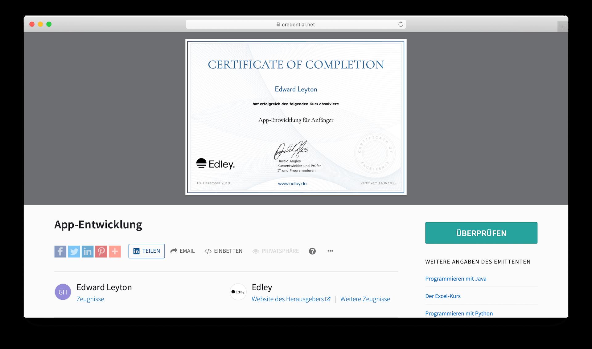 App programmieren Zertifikat