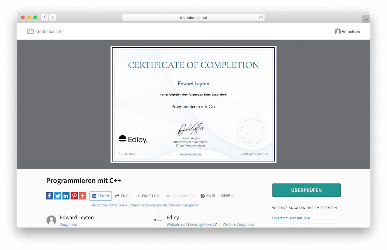 Python Kurs Zertifikat Edley