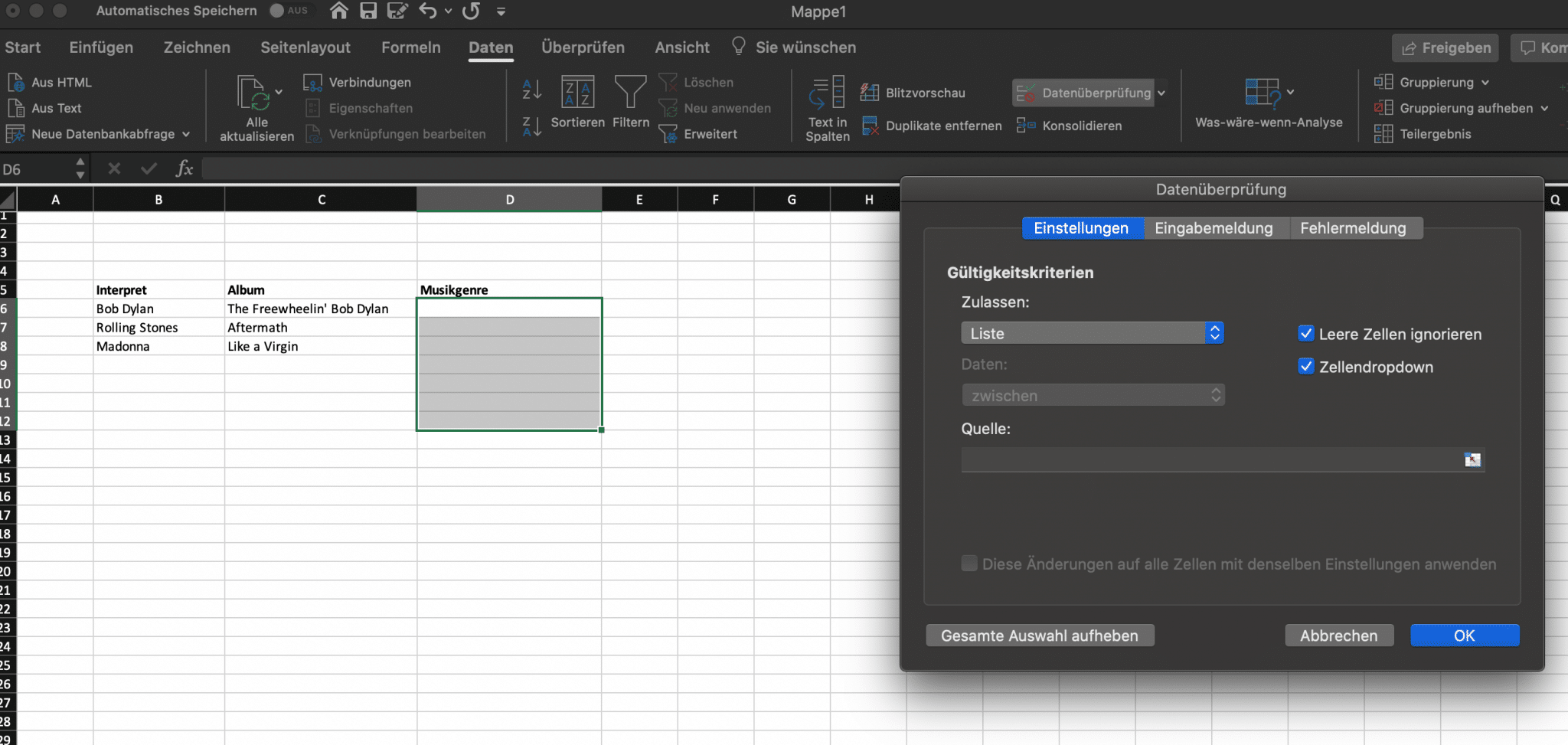 Dropdown Menü Excel