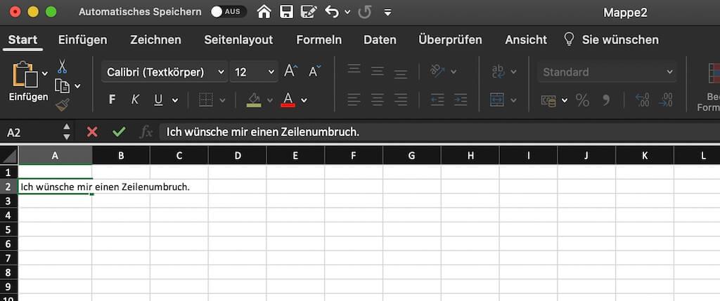 Zeilenumbruch in Excel erzeugen