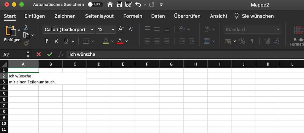 Zeilenumbruch Excel