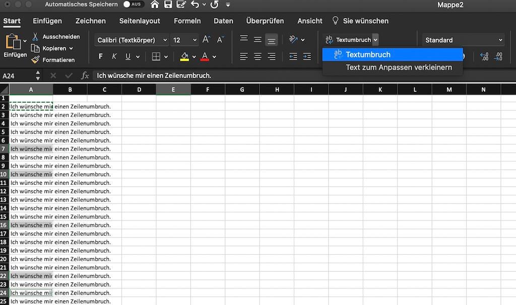 Excel neue Zeile