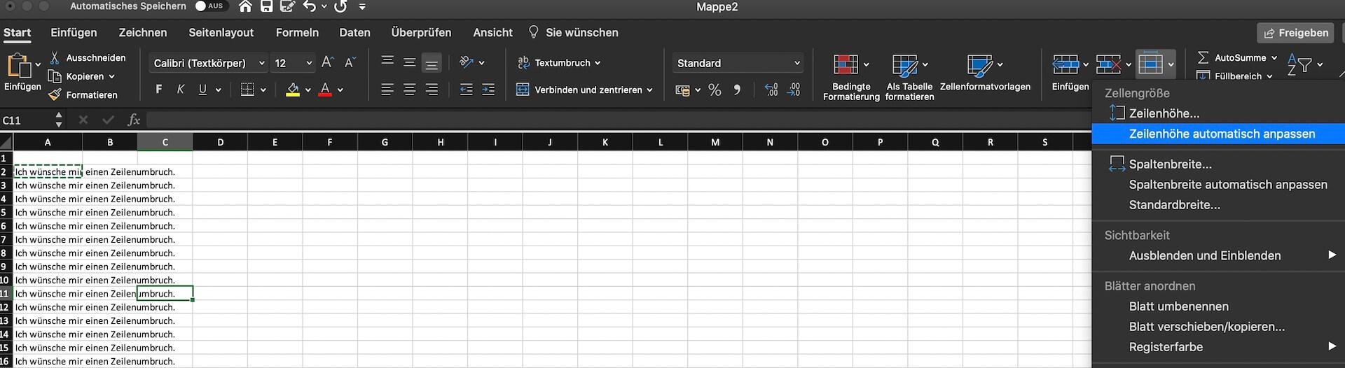 Excel Zeilenumbruch erklärt