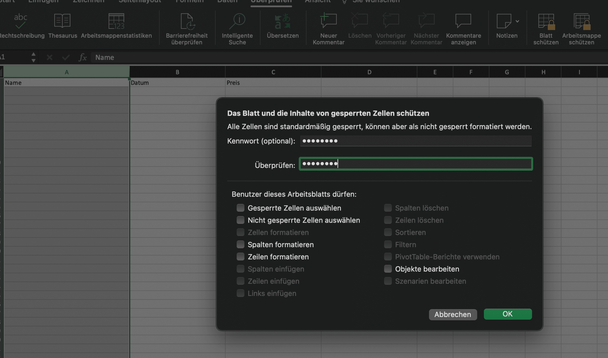 Excel Blattschutz Kennwort eingeben