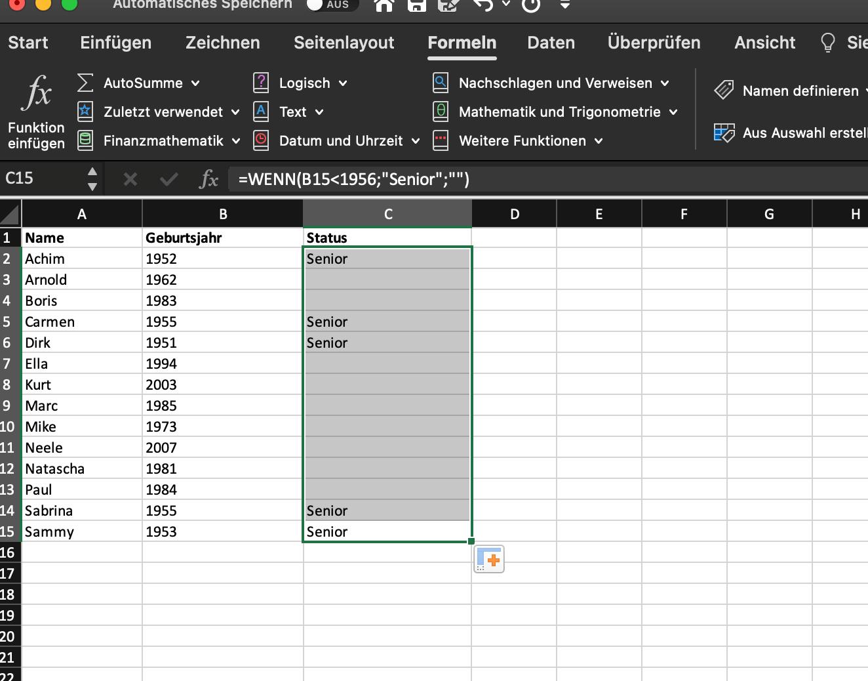Excel Wenn-Dann-Funktion gesamte Spalte