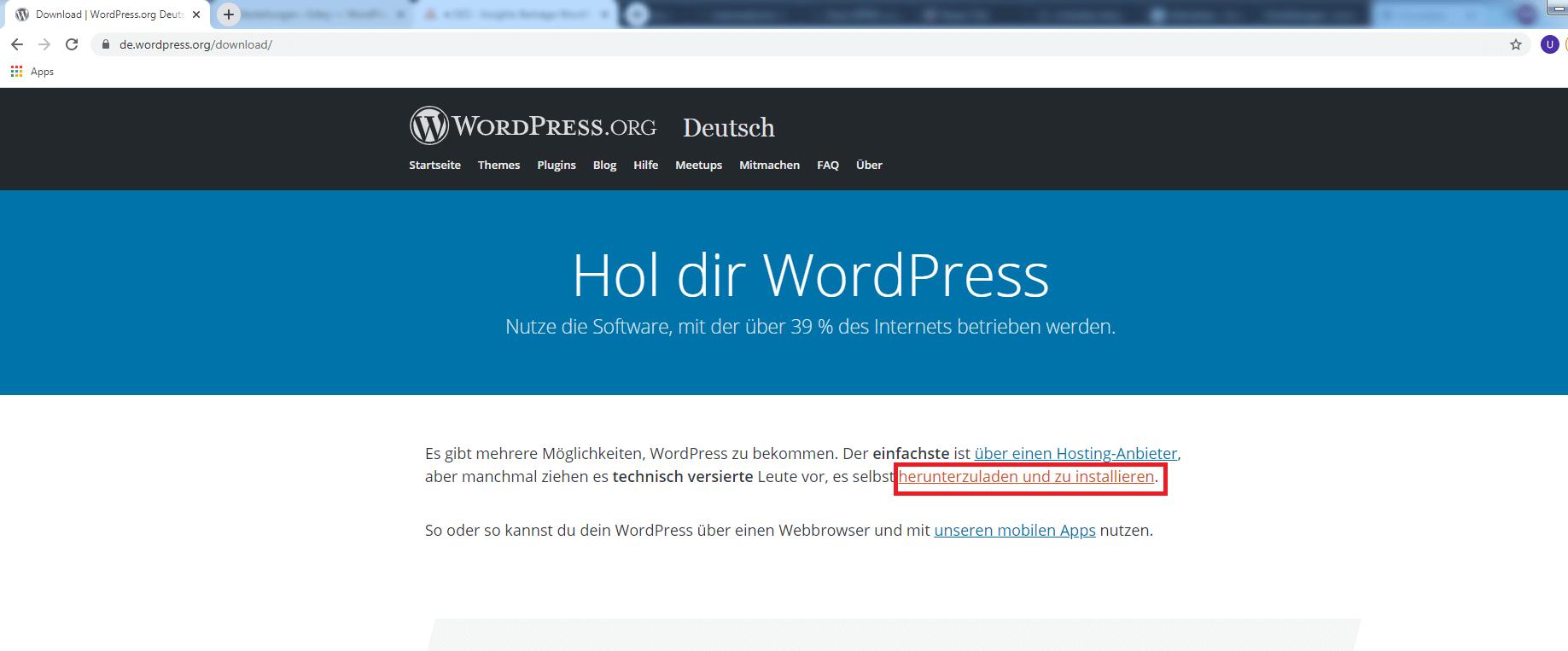 WordPress herunterladen und installieren